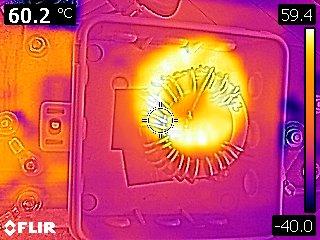 Übertrager mit 2xFT140-43 nach mehreren Minuten Betrieb auf 40-m mit 100 Watt